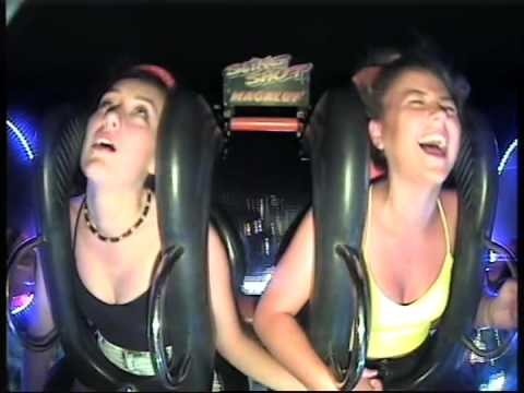 VIDEO: Meitene divreiz zaudē samaņu katapultas atrakcijā. (Funny Irish Girl Passes Out Twice On Slingshot Ride In Magaluf)