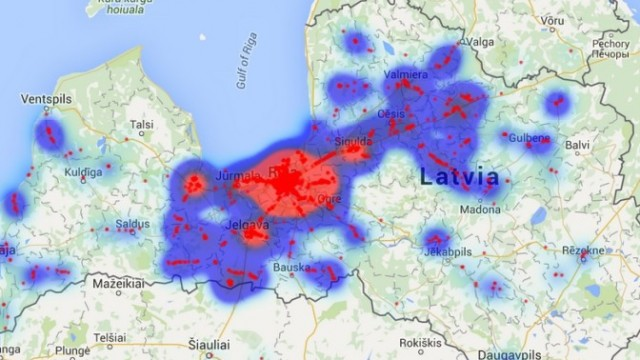 Izveidota karte ar bedrēm pilnākajiem ceļiem Latvijā. Autovadītāj, uzmanies!
