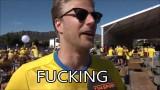 """VIDEO: Emocionāls zviedru futbola fans pēc zaudētas spēles: """"Kurš, pie velna, paslīd tik svarīgā brīdī!"""""""
