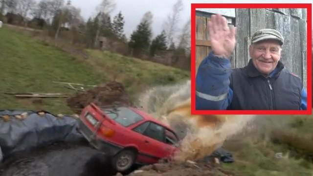 VIDEO: 73 gadīgs opis no Daugavpils ielec ar Audi 12 000 litrīgā ar Coca-Cola pildītā baseinā!