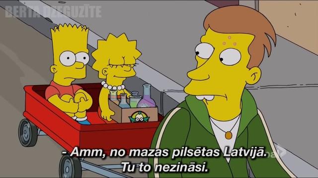 """VIDEO: Populārajā animācijas seriālā """"Simpsoni"""" izskan Latvijas vārds!"""