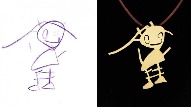 Māksliniece pārvērš bērnu zīmējumus rotaslietās. Nezūdošām atmiņām!