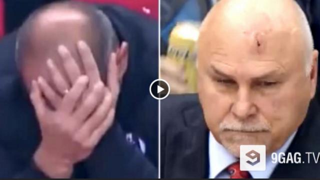 VIDEO: Lūk, kāda ir atšķirība starp futbola un hokeja treneriem! Lieliski!