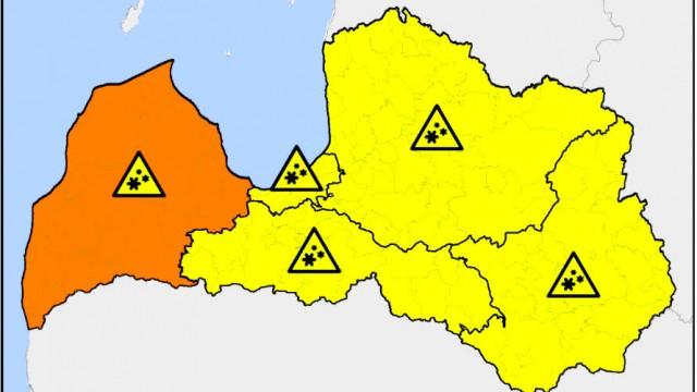 Uzmanību! Šodien visā Latvijā izsludināts dzeltenais brīdinājums! Vietām – oranžais.