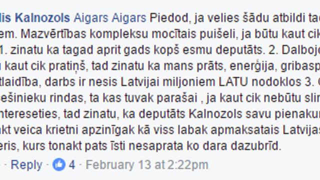 """Deputāts Kalnozols komentē: """"Dalbajob, ja būtu kaut cik pratiņš, tad zinatu ka mans prāts (…)!"""""""