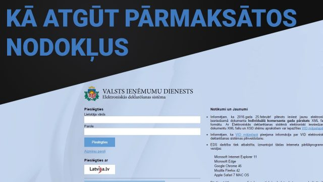 Vai zināji, ka katrs Latvijas iedzīvotājs uz savu bankas kontu no Valsts var atgūt nodokļu atmaksu!?