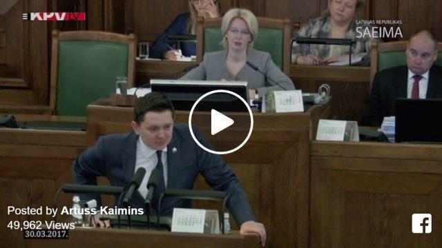 """VIDEO: Noklausies! Spēcīga Artusa Kaimiņa uzruna tautai no Saeimas tribīnes """"Manā valstī!"""""""