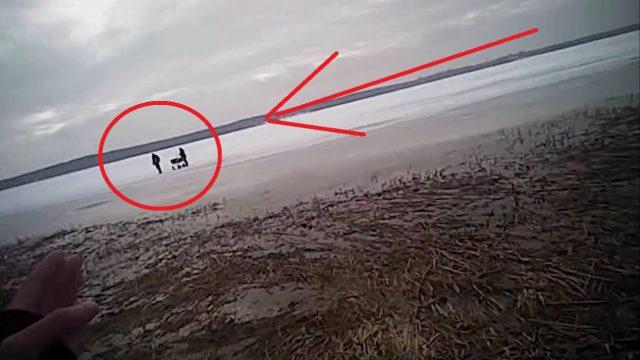 VIDEO: Idiotisms! 2 vīrieši un māte ar 2 zīdaiņiem bēg no policijas pa trauslo Juglas ezera ledu! Ledū ielūst viens no vīriešiem.