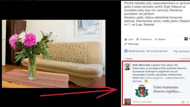 FOTO: Kad publicē Facebook sludinājumu par dzīvokļa izīrēšanu… un to komentē VID!