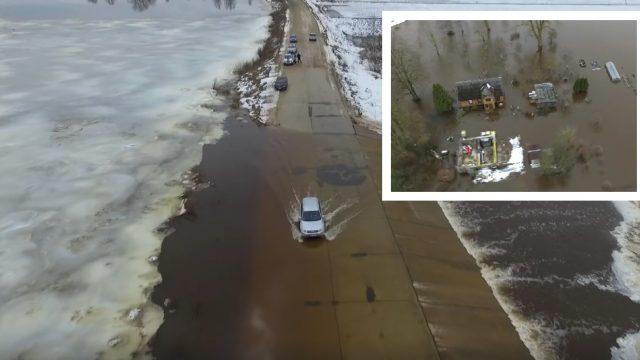 VIDEO: Dramatiski kadri skatā no augšas uz applūdušajām pilsētām – Pļaviņām un Jēkabpili!