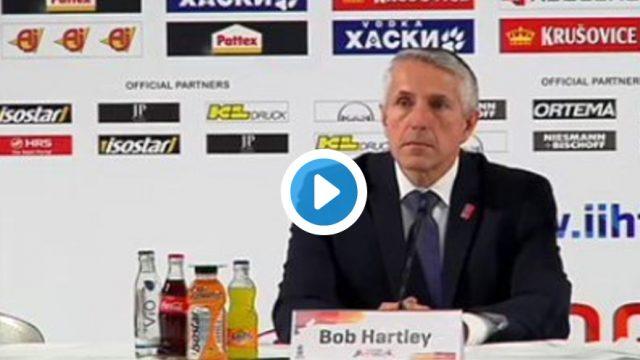 VIDEO: Tas brīdis, kad Latvijas hokeja izlases treneri Hārtliju sanikno žurnālista uzdots jautājums…