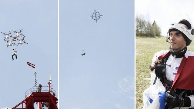 VIDEO: Iespaidīgi! Latvietis veic PASAULĒ PIRMO lēcienu ar izpletni no… DRONA!