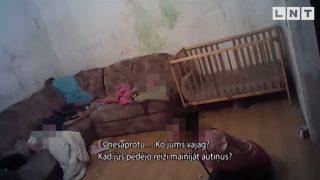 Policijas VIDEO: Šokējoši kadri! Pārdzērusies grūtniece ar vēl 4 bērniem dzīvo ĀRPRĀTĪGOS apstākļos!