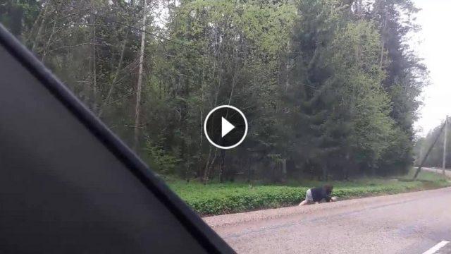 VIDEO: Visa Latvija priecājas par sievieti, kura uz ceļa Liepa-Cēsis paveic kaut ko patiesi mīļu!