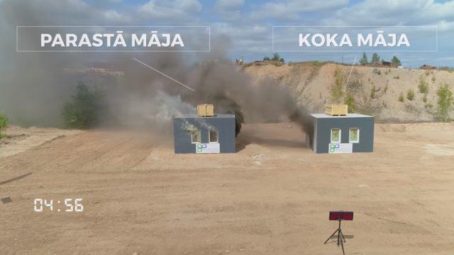 VIDEO: Eksperiments! Latvieši aizdedzina koka un mūra māju! Kura nodeg ātrāk?