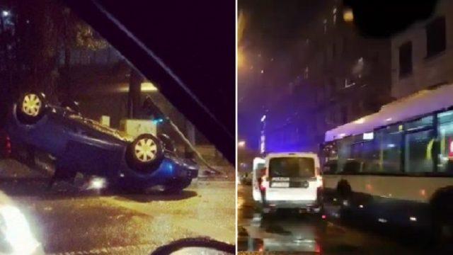 VIDEO: Avarējot, mašīna apgāžas uz jumta; Brīvības ielā autobuss pret policiju!