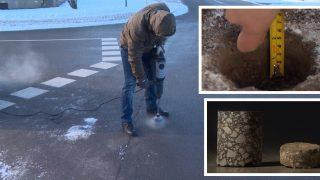 """""""Aizliegtais paņēmiens"""" atklāj, ka jaunais asfalts ieklāts pat divreiz plānāks, nekā paredzēts!"""