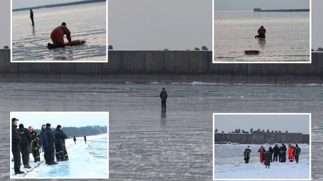 FOTO: Šodien Liepājā no ielūšanas ledū izglābts 10 gadīgs puika!