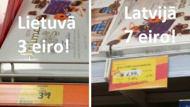 FOTO: Absurds! Identiskas konfektes Lietuvā maksā – 3 eiro, Latvijā – gandrīz 7 eiro!